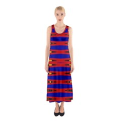 Bright Blue Red Yellow Mod Abstract Full Print Maxi Dress