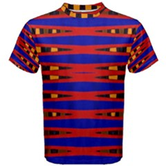 Bright Blue Red Yellow Mod Abstract Men s Cotton Tee