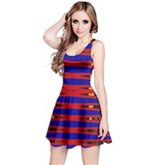 Bright Blue Red Yellow Mod Abstract Reversible Sleeveless Dress