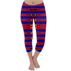 Bright Blue Red Yellow Mod Abstract Capri Winter Leggings