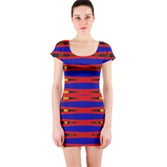 Bright Blue Red Yellow Mod Abstract Short Sleeve Bodycon Dress