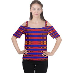 Bright Blue Red Yellow Mod Abstract Women s Cutout Shoulder Tee