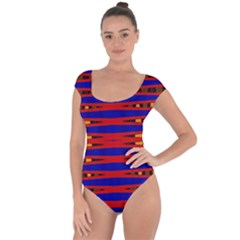 Bright Blue Red Yellow Mod Abstract Short Sleeve Leotard (ladies)