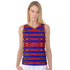 Bright Blue Red Yellow Mod Abstract Women s Basketball Tank Top