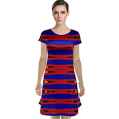 Bright Blue Red Yellow Mod Abstract Cap Sleeve Nightdress