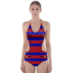 Bright Blue Red Yellow Mod Abstract Cut-Out One Piece Swimsuit