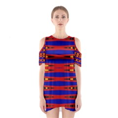 Bright Blue Red Yellow Mod Abstract Cutout Shoulder Dress