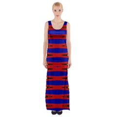 Bright Blue Red Yellow Mod Abstract Maxi Thigh Split Dress