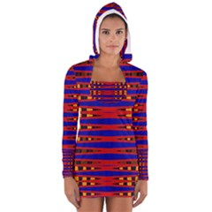 Bright Blue Red Yellow Mod Abstract Women s Long Sleeve Hooded T-shirt