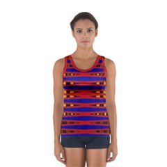 Bright Blue Red Yellow Mod Abstract Tops