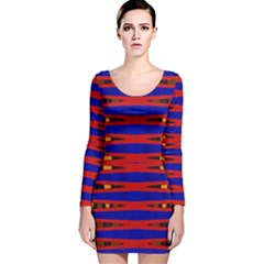 Bright Blue Red Yellow Mod Abstract Long Sleeve Velvet Bodycon Dress