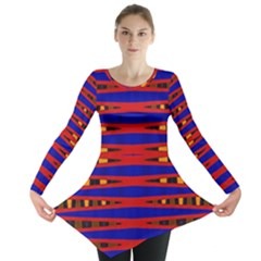 Bright Blue Red Yellow Mod Abstract Long Sleeve Tunic