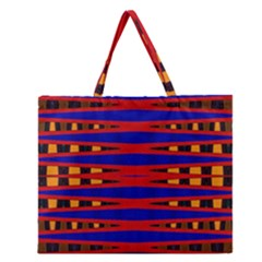 Bright Blue Red Yellow Mod Abstract Zipper Large Tote Bag
