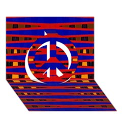 Bright Blue Red Yellow Mod Abstract Peace Sign 3d Greeting Card (7x5)
