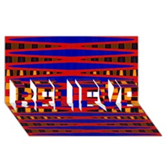 Bright Blue Red Yellow Mod Abstract Believe 3d Greeting Card (8x4)
