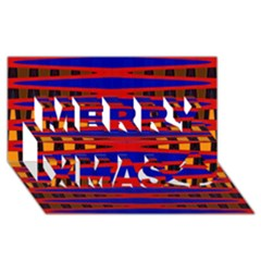 Bright Blue Red Yellow Mod Abstract Merry Xmas 3d Greeting Card (8x4)