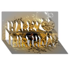Decorative Clef On A Round Button With Flowers And Bubbles Happy Birthday 3d Greeting Card (8x4)