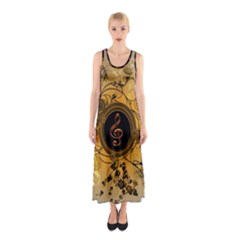 Decorative Clef On A Round Button With Flowers And Bubbles Full Print Maxi Dress
