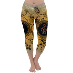 Decorative Clef On A Round Button With Flowers And Bubbles Capri Winter Leggings