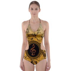 Decorative Clef On A Round Button With Flowers And Bubbles Cut-Out One Piece Swimsuit