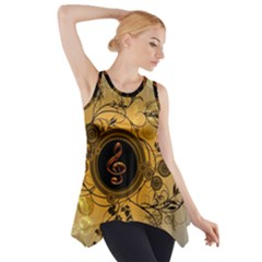 Decorative Clef On A Round Button With Flowers And Bubbles Side Drop Tank Tunic