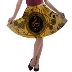 Decorative Clef On A Round Button With Flowers And Bubbles A Line Skater Skirt