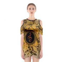 Decorative Clef On A Round Button With Flowers And Bubbles Cutout Shoulder Dress