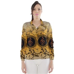 Decorative Clef On A Round Button With Flowers And Bubbles Wind Breaker (Women)