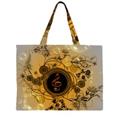 Decorative Clef On A Round Button With Flowers And Bubbles Large Tote Bag