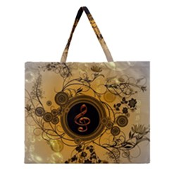 Decorative Clef On A Round Button With Flowers And Bubbles Zipper Large Tote Bag