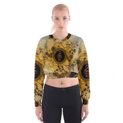 Decorative Clef On A Round Button With Flowers And Bubbles Women s Cropped Sweatshirt