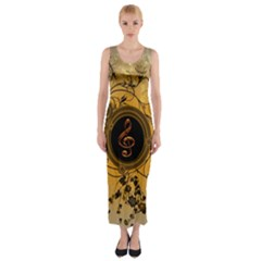 Decorative Clef On A Round Button With Flowers And Bubbles Fitted Maxi Dress