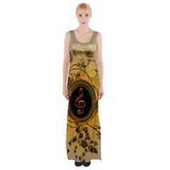 Decorative Clef On A Round Button With Flowers And Bubbles Maxi Thigh Split Dress