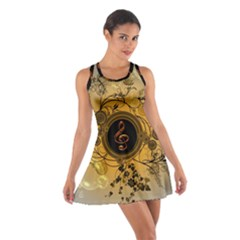 Decorative Clef On A Round Button With Flowers And Bubbles Racerback Dresses