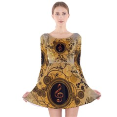 Decorative Clef On A Round Button With Flowers And Bubbles Long Sleeve Velvet Skater Dress