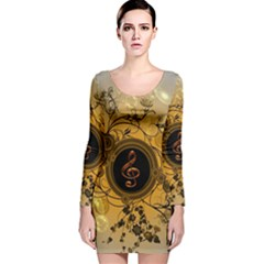 Decorative Clef On A Round Button With Flowers And Bubbles Long Sleeve Velvet Bodycon Dress