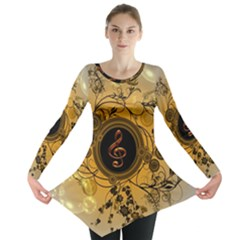 Decorative Clef On A Round Button With Flowers And Bubbles Long Sleeve Tunic