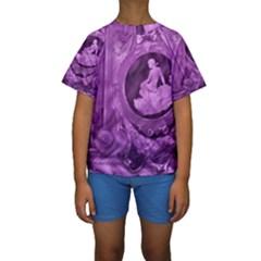 Vintage Purple Lady Cameo Kid s Short Sleeve Swimwear