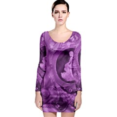 Vintage Purple Lady Cameo Long Sleeve Bodycon Dress