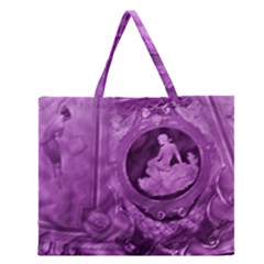 Vintage Purple Lady Cameo Zipper Large Tote Bag