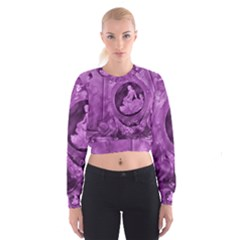 Vintage Purple Lady Cameo Women s Cropped Sweatshirt