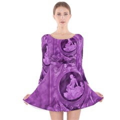 Vintage Purple Lady Cameo Long Sleeve Velvet Skater Dress