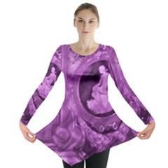 Vintage Purple Lady Cameo Long Sleeve Tunic