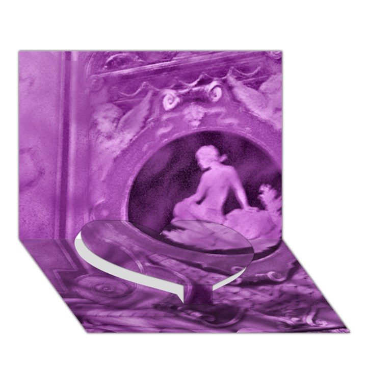 Vintage Purple Lady Cameo Heart Bottom 3D Greeting Card (7x5)
