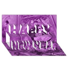Vintage Purple Lady Cameo Happy New Year 3d Greeting Card (8x4)