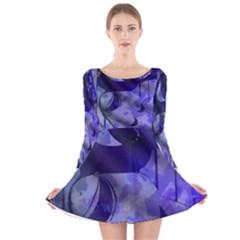 Blue Theater Drama Comedy Masks Long Sleeve Velvet Skater Dress