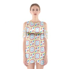 Squares rhombus and circles pattern  Women s Cutout Shoulder Dress