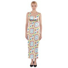 Squares rhombus and circles pattern  Fitted Maxi Dress