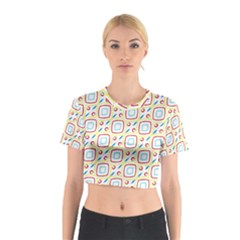 Squares rhombus and circles pattern  Cotton Crop Top