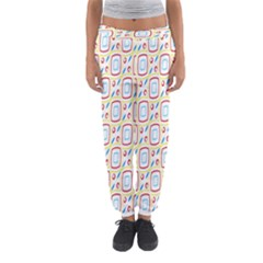 Squares rhombus and circles pattern  Women s Jogger Sweatpants